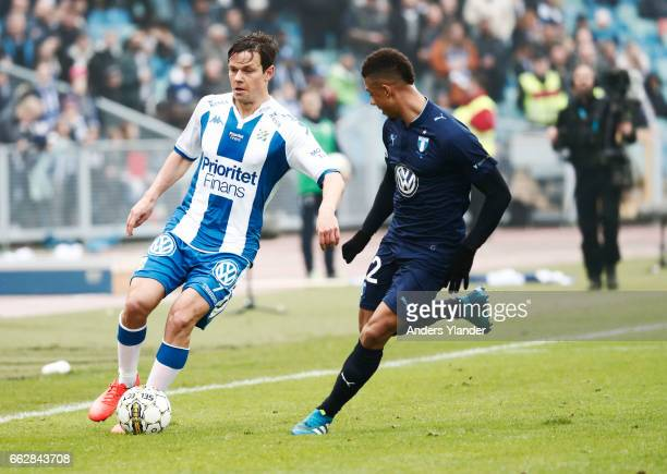 Mads Albaek of IFK Goteborg and Tobias Sana of Malmo FF competes for the ball during the Allsvenskan match between IFK Goteborg and Malmo FF at...