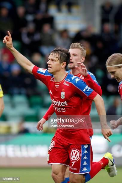 Mads Albæk of IFK Goteborg celebrates after scoring during the Allsvenskan match between GIF Sundsvall and IFK Goteborg at Idrottsparken on May 22...