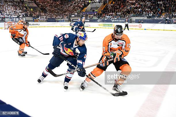 Mads Christensen of EHC Red Bull Muenchen and Sebastian Furchner of the Grizzlys Wolfsburg during the game between the EHC Red Bull Muenchen and the...