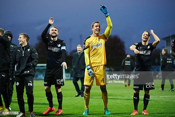 Mads Fenger Hannes Thor Halldorsson and Joel Allansson of Randers FC celebrate after the Danish Alka Superliga match between Lyngby BK and Randers FC...