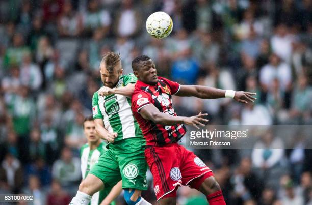 Mads Fenger Nielsen of Hammarby IF and Alhaji Gero of Ostersunds FK during the Allsvenskan match between Hammarby IF and Ostersunds FK at Tele2 Arena...