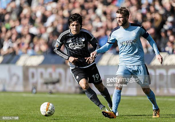 Mads Fenger of Randers FC and Federico Santander of FC Kobenhavn compete for the ball during the Danish Alka Superliga match between Randers FC and...