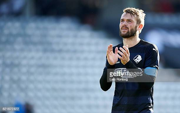 Mads Fenger of Randers FC applauds the fans after the Danish Alka Superliga match between AGF Aarhus and Randers FC at Ceres Park on April 16 2016 in...