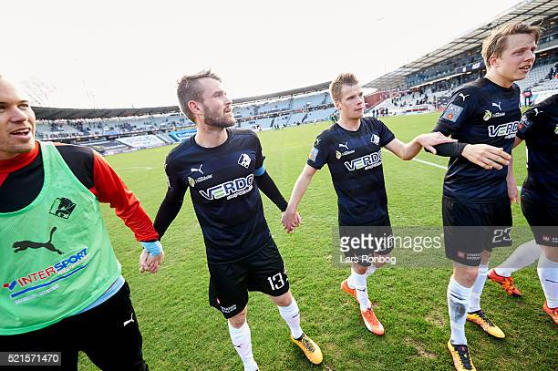 Mads Fenger of Randers FC celebrates after the Danish Alka Superliga match between AGF Aarhus and Randers FC at Ceres Park on April 16 2016 in Aarhus...
