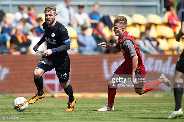Mads Fenger of Randers FC controls the ball during the Danish Alka Superliga match between FC Nordsjalland and Randers FC at Right to Dream Park on...