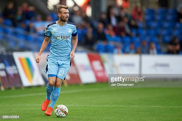 Mads Fenger of Randers FC controls the ball during the Danish Alka Superliga match between Randers FC and AC Horsens at BioNutria Park Randers on...