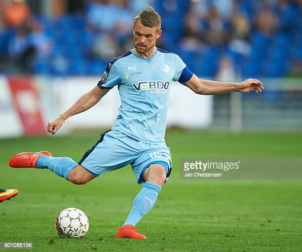 Mads Fenger of Randers FC controls the ball during the Danish Alka Superliga match between Randers FC and Lyngby BK at BioNutria Park Randers on...