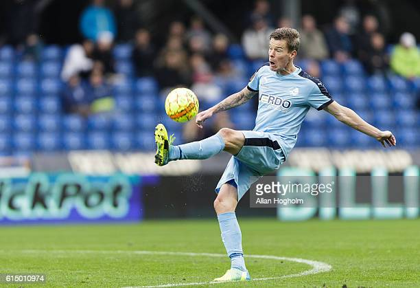 Mads Fenger of Randers FC controls the ball during the Danish Alka Superliga match between Randers FC and OB Odense at BioNutria Park on October 16...