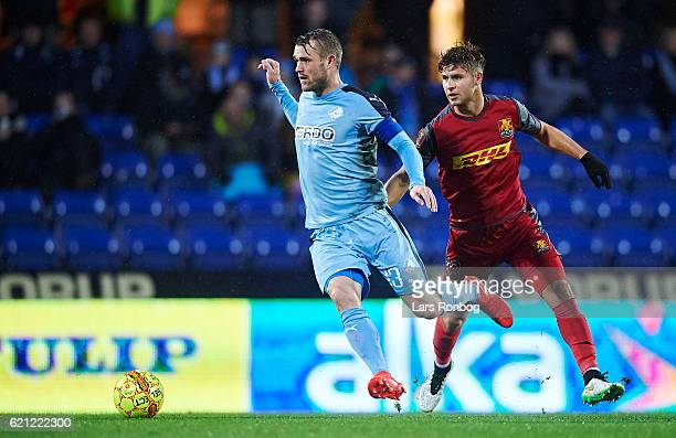 Mads Fenger of Randers FC controls the ball during the Danish Alka Superliga match between Randers FC and FC Nordsjalland at BioNutria Park on...
