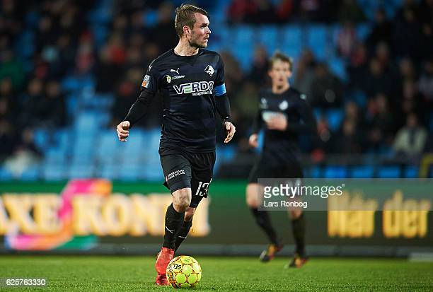 Mads Fenger of Randers FC controls the ball during the Danish Alka Superliga match between AaB Aalborg and Randers FC at Nordjyske Arena on November...