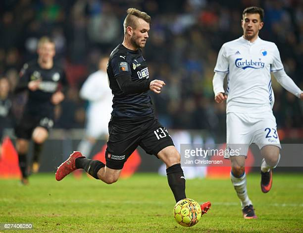 Mads Fenger of Randers FC controls the ball during the Danish Alka Superliga match between FC Copenhagen and Randers FC at Telia Parken Stadium on...