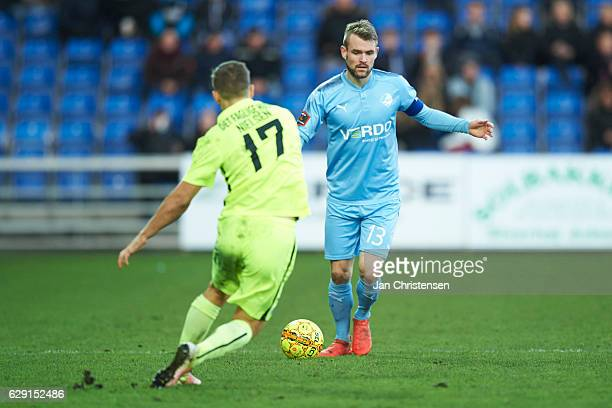 Mads Fenger of Randers FC controls the ball during the Danish Alka Superliga match between Randers FC and Esbjerg fB at BioNutria Park Randers on...