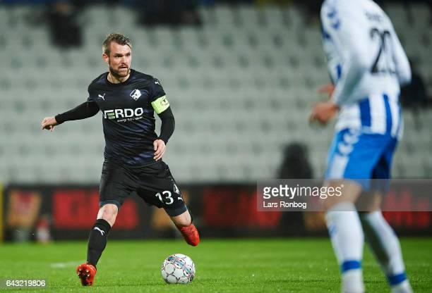 Mads Fenger of Randers FC controls the ball during the Danish Alka Superliga match between OB Odense and Randers FC at EWII Park on February 20 2017...
