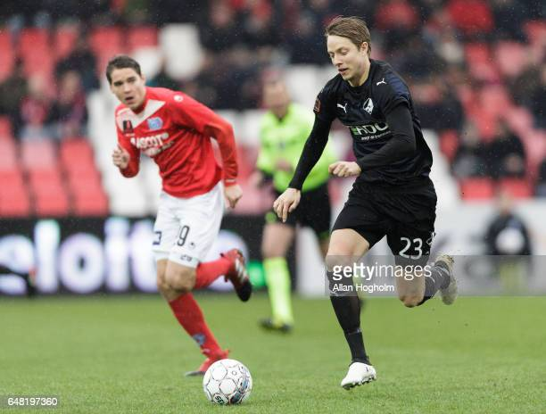Mads Fenger of Randers FC controls the ball during the Danish Alka Superliga match between Silkeborg IF and Randers FC at Mascot Park on March 5 2017...