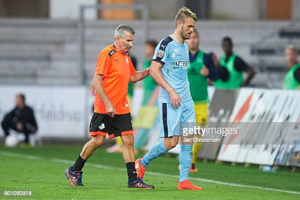 Mads Fenger of Randers FC get a red card during the Danish Alka Superliga match between Randers FC and Lyngby BK at BioNutria Park Randers on...