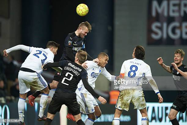 Mads Fenger of Randers FC heading the ball during the Danish Alka Superliga match between FC Copenhagen and Randers FC at Telia Parken Stadium on...