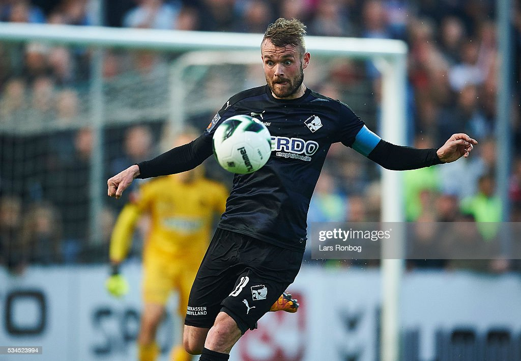Mads Fenger of Randers FC in action during the Danish Alka Superliga match between Sonderjyske and Randers FC at Sydbank Park on May 26, 2016 in Haderslev, Denmark.