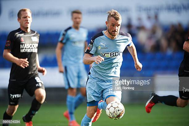 Mads Fenger of Randers FC in action during the Danish Alka Superliga match between Randers FC and Silkeborg IF at NioNutria Park on August 26 2016 in...
