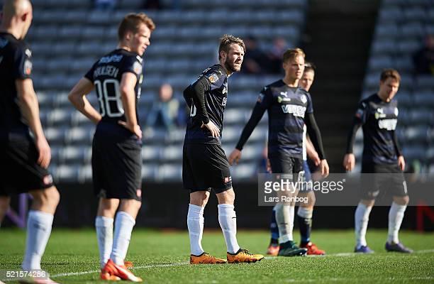 Mads Fenger of Randers FC look$ the Danish Alka Superliga match between AGF Aarhus and Randers FC at Ceres Park on April 16 2016 in Aarhus Denmark