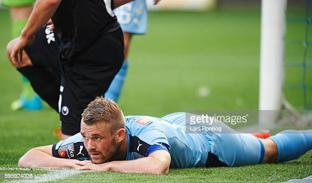 Mads Fenger of Randers FC looks dejected during the Danish Alka Superliga match between Randers FC and Silkeborg IF at NioNutria Park on August 26...