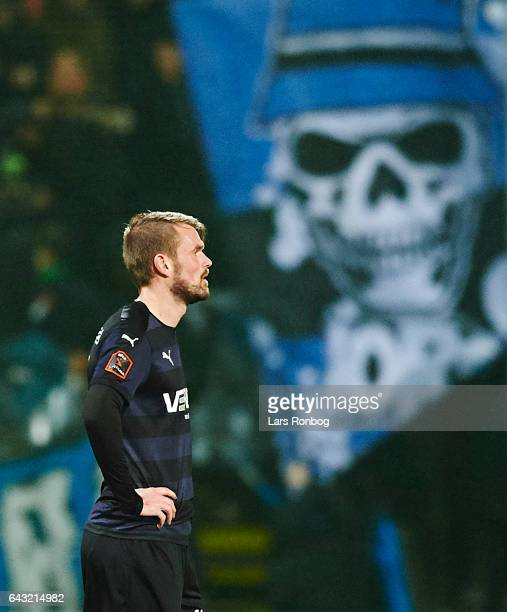 Mads Fenger of Randers FC looks on during the Danish Alka Superliga match between OB Odense and Randers FC at EWII Park on February 20 2017 in Odense...