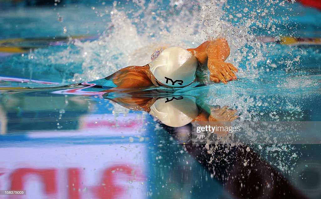 Mads Glaesner of Denmark competes during the men's 400m freestyle final during the FINA World Short Course Swimming Championships in Istanbul on December 14, 2012.