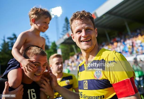 Mads Justesen of Hobro IK celebrates winning the match and the NordicBet LIGA with promotion to the Alka Superliga after the Danish NordicBet LIGA 1...