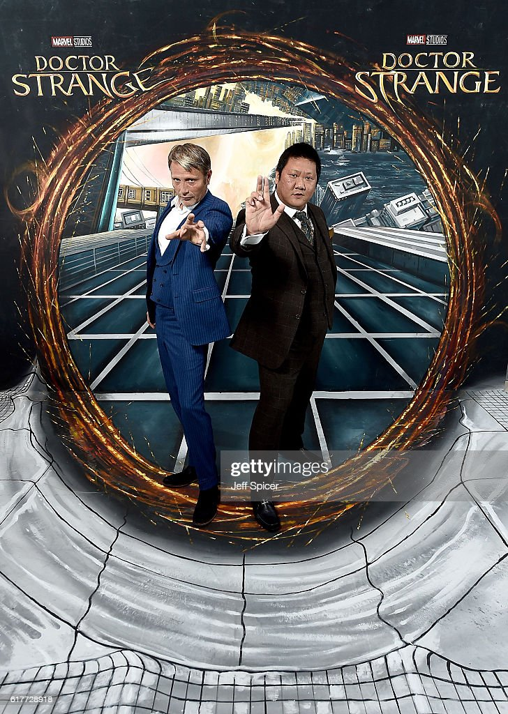 Mads Mikkelsen and Benedict Wong in front of the Doctor Strange inspired 3D Art at a fan screening, to celebrate the release of Marvel Studio's Doctor Strange at the Odeon Leicester Square, on October 24, 2016 in London, United Kingdom.