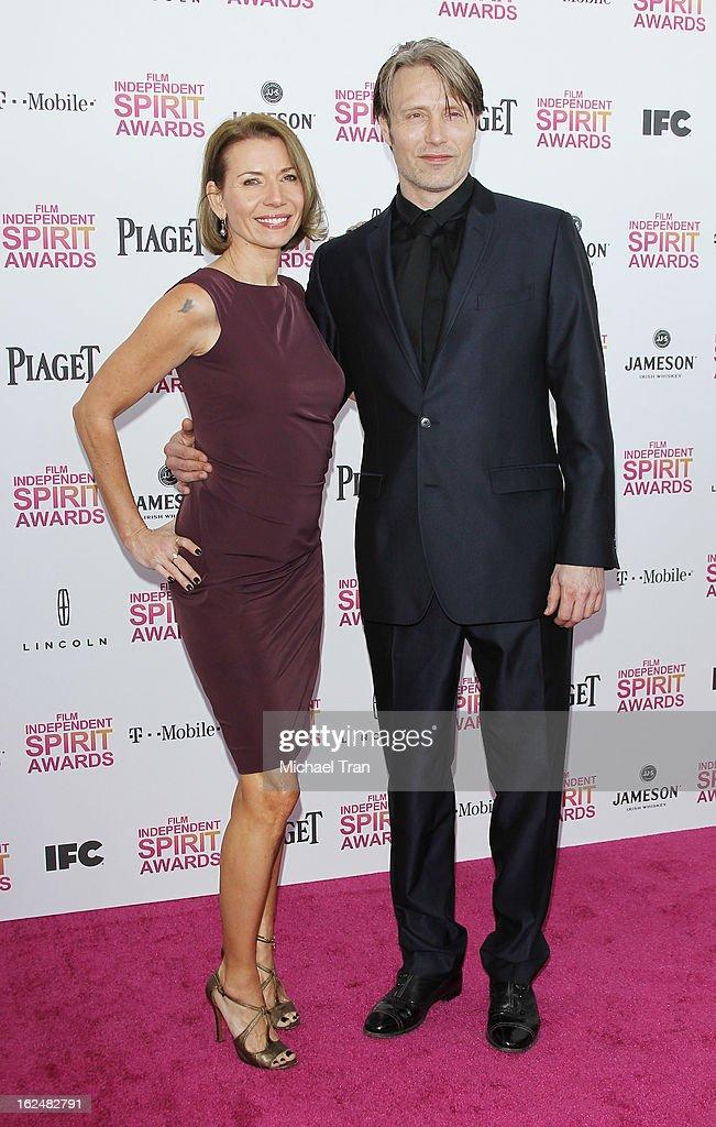 Mads Mikkelsen arrives at the 2013 Film Independent Spirit Awards held on February 23, 2013 in Santa Monica, California.