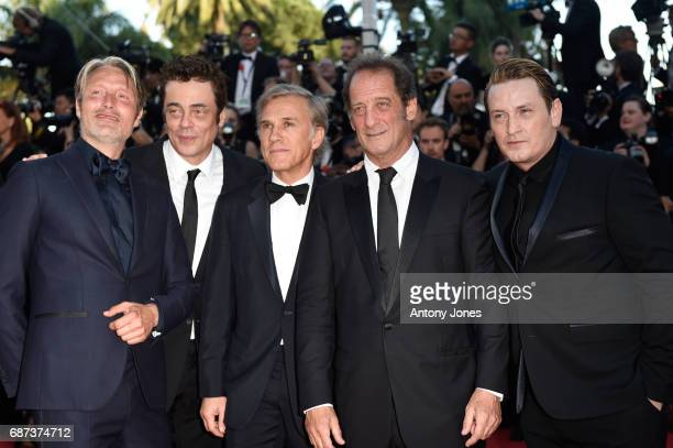 Mads Mikkelsen Benicio del Toro Christoph Waltz Vincent Lindon and Benoit Magimel attend the 70th Anniversary screening during the 70th annual Cannes...