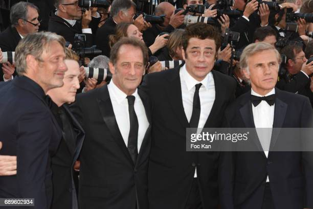 Mads Mikkelsen Benoit Magimel Vincent Lindon Benicio del Toro and Christoph Waltz attend the 70th anniversary event during the 70th annual Cannes...