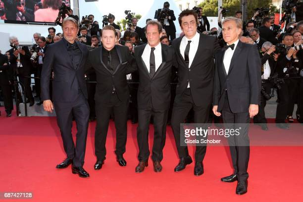 Mads Mikkelsen Benoit MagimelVincent Lindon Benicio Del Toro and Christoph Waltz attend the 70th Anniversary of the 70th annual Cannes Film Festival...