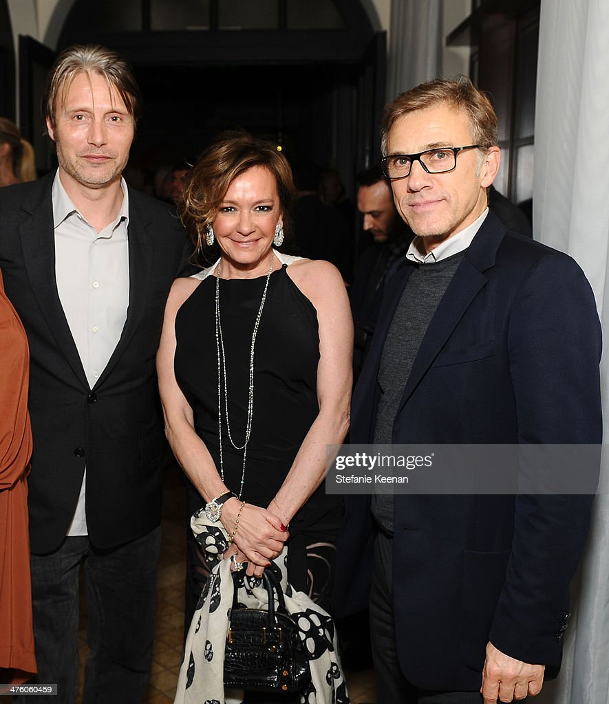 Mads Mikkelsen, Chopard Co-President and Creative Director Caroline Scheufele and Christoph Waltz attend The Weinstein Company Academy Award party hosted by Chopard on March 1, 2014 in Beverly Hills, California.