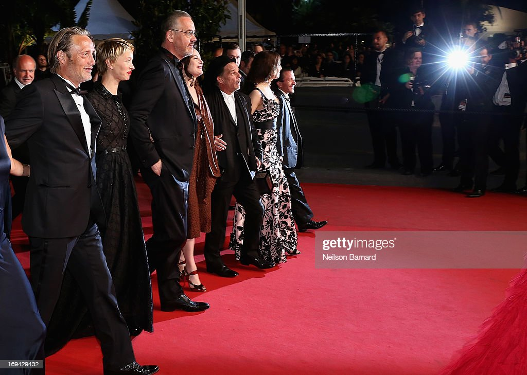 Mads Mikkelsen, Delphine Chuillot, Arnaud des Pallieres, guest, Denis Lavant and Amira Casar attend the 'Michael Kohlhaas' premiere during The 66th Annual Cannes Film Festival at the Palais des Festival on May 24, 2013 in Cannes, France.