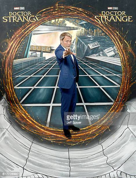 Mads Mikkelsen in front of the Doctor Strange inspired 3D Art at a fan screening to celebrate the release of Marvel Studio's Doctor Strange at the...