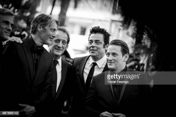 Mads Mikkelsen Vincent Lindon Benicio del Toro and Benoit Magimel attend the 70th Anniversary screening during the 70th annual Cannes Film Festival...