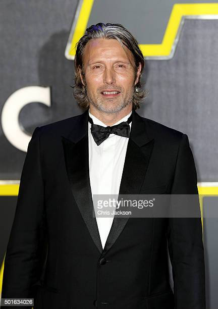 Mads Mikkelson attends the European Premiere of 'Star Wars The Force Awakens' at Leicester Square on December 16 2015 in London England
