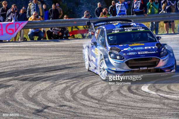 Mads Ostberg and codriver Torstein Eriksen of MSport World Rally Team round the famous Riudecanyes roundabouts of the Rally de Espana round of the...