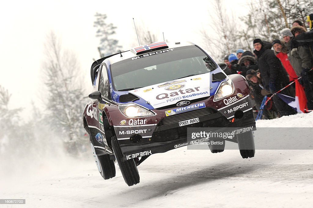 Mads Ostberg of Norway and Jonas Andersson of Sweden compete in their Qatar M-Sport WRT Ford Fiesta RS WRC during the Shakedown of the WRC Sweden on February 07, 2013 in Karlstad, Sweden.