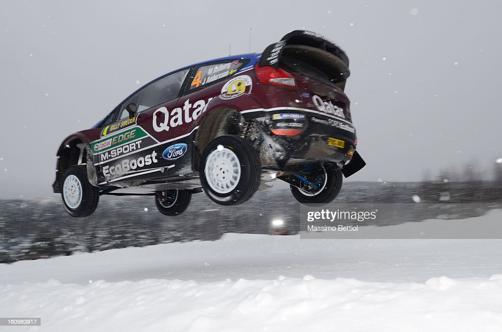 Mads Ostberg of Norway and Jonas Andersson of Sweden compete in their Qatar M-Sport WRT Ford Fiesta RS WRC during Day One of the WRC Sweden on February 08 , 2013 in Karlstad , Sweden.