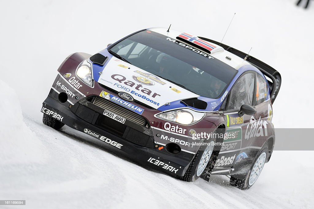 Mads Ostberg of Norway and Jonas Andersson of Sweden compete in their Qatar M-Sport WRT Ford Fiesta RS WRC during Day Two of the WRC Sweden on February 09 , 2013 in Karlstad , Sweden.