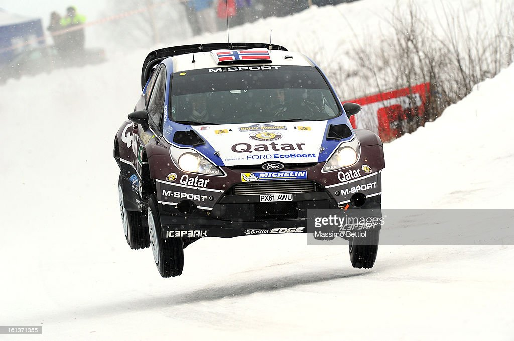 Mads Ostberg of Norway and Jonas Andersson of Sweden compete in their Qatar M-Sport WRT Ford Fiesta RS WRC during Day Three of the WRC Sweden on February 10 , 2013 in Karlstad , Sweden.