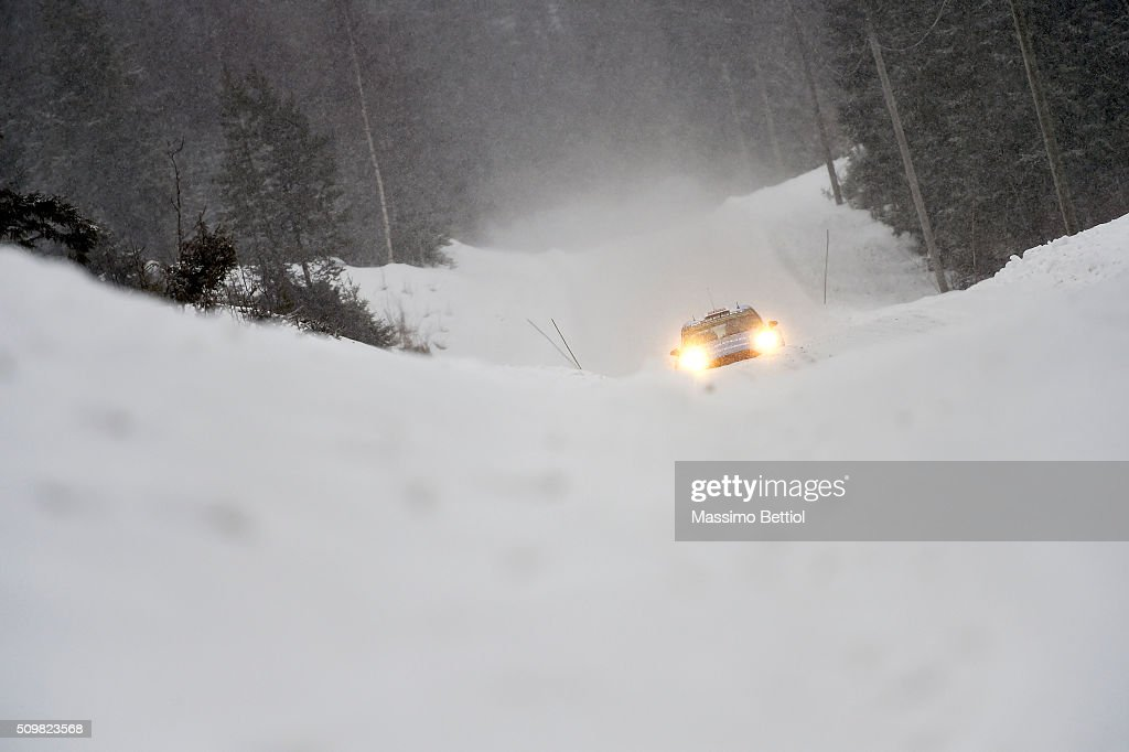 Mads Ostberg of Norway and Ola Floene of Norway compete in their M-Sport WRT Ford Fiesta RS WRC during Day One of the WRC Sweden on February 12, 2016 in Karlstad, Sweden.