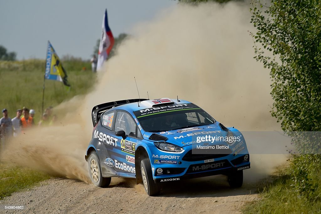 Mads Ostberg of Norway and Ola Floene of Norway compete in their M-Sport WRT Ford Fiesta RS WRC during the Shakedown of the WRC Poland on June 30, 2016 in Mikolajki, Poland.