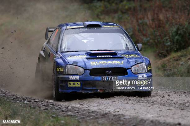 Mads Ostberg of Norway in the Adapta AS Subaru Impreza WRC in the Wales Rally GB