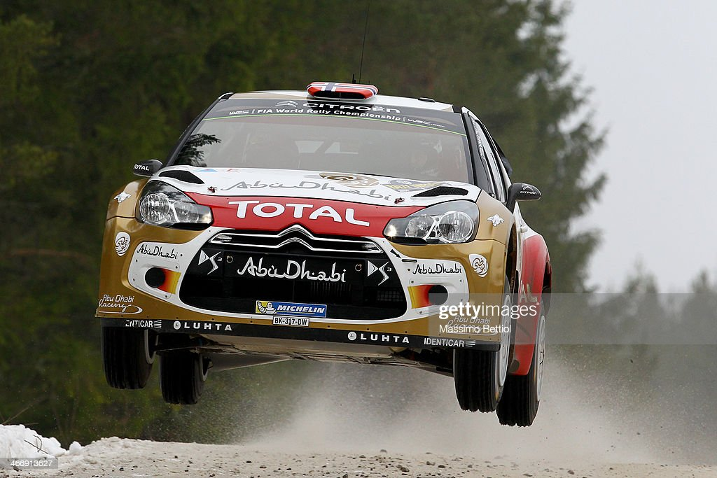Mads Osterg of Norway and Jonas Andersson of Sweden compete in their Citroen Total Abu Dhabi WRT Citroen DS3 WRC during the Shakedown of the WRC...