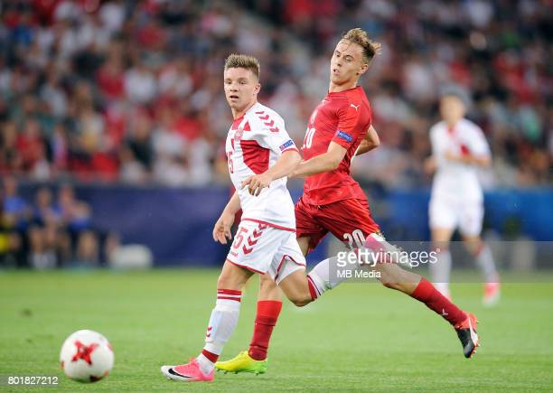 Mads Pedersen Martin Hasek during the UEFA European Under21 match between Czech Republic and Denmark at Arena Tychy on June 24 2017 in Tychy Poland