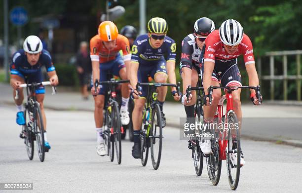 Mads Pedersen of TrekSegafredo in action during the Elite Mens Road Race in the Danish Road Cycling Championships on June 25 2017 in Grindsted Denmark