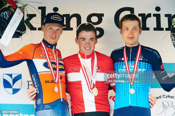 Mads Pedersen of TrekSegafredo new Danish Champion Nicolai Brochner Riwal Platform Cycling Team wins silver Alexander Kamp of Team VeloConcept wins...