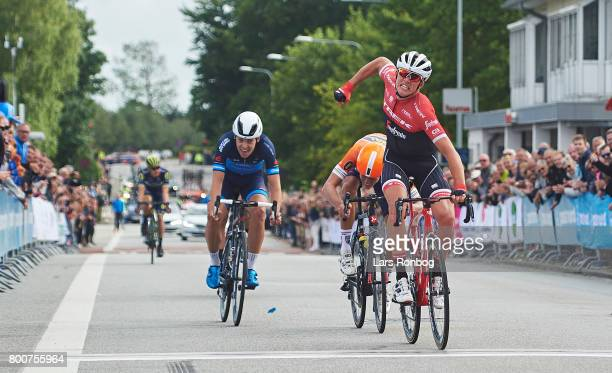 Mads Pedersen of TrekSegafredo winning the race and are new Danish Champion in the Elite Mens Road Race in the Danish Road Cycling Championships on...